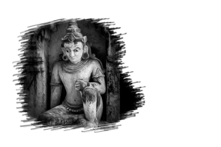 Digital oil painting of sculpture religion worship in Bagan, Myanmar. Monotone religious background. Buddhism and hindu background. Stock Photo