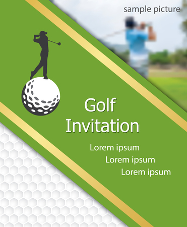 Golf tournament invitation flyer template graphic design. Golfer swinging on golfball on golf ball pattern texture with sample picture. Stock Illustratie