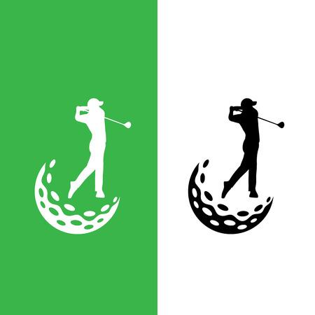 ゴルファーとゴルフ ボール アイコン ロゴ ベクトル グラフィック デザインをスイングします。  イラスト・ベクター素材