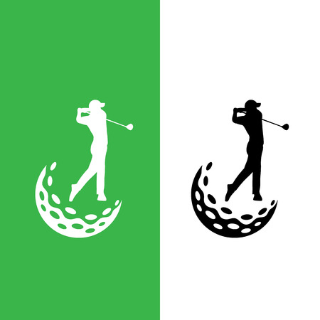 Swinging golfspeler en golfbal pictogram logo vector grafisch ontwerp. Stock Illustratie