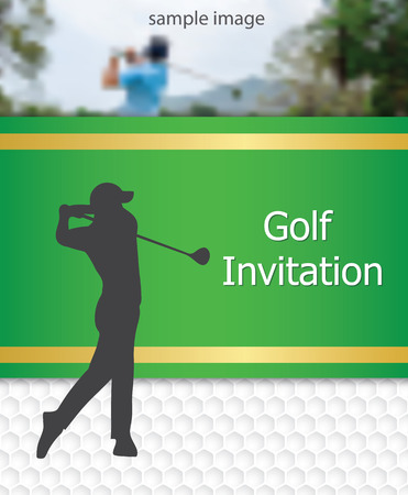 Golf tournament invitation flyer template graphic design. Golfer swinging on golfball on golf ball pattern texture with sample image.