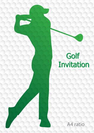 ゴルフ大会招待状チラシ テンプレート ベクトル グラフィック デザイン。ゴルフ ボール パターン テクスチャを振るゴルファー。A4 の比率。
