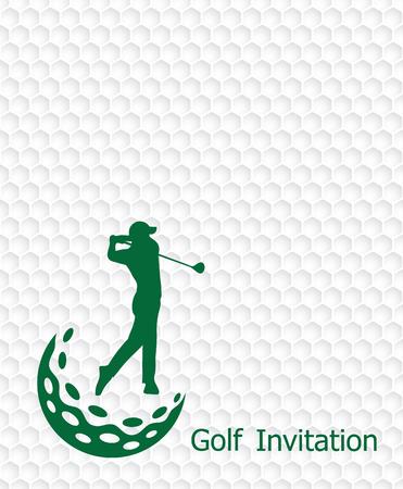 ゴルフ大会招待状チラシ テンプレートのグラフィック デザイン。ゴルフ ボール パターン テクスチャのゴルフボールを振るゴルファー。