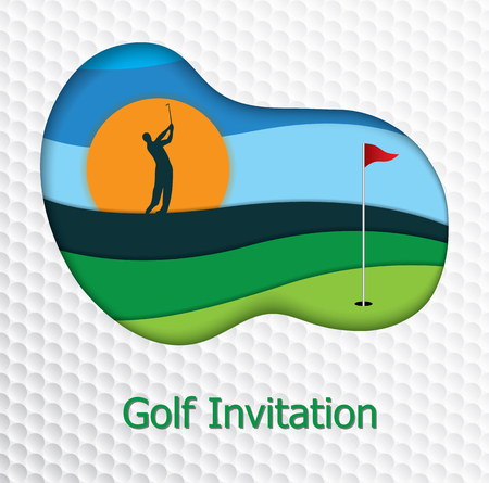 golfer swinging: Golf tournament invitation flyer template graphic design. Golfer swinging on fairway and hole on the green. Golf ball pattern texture in background.