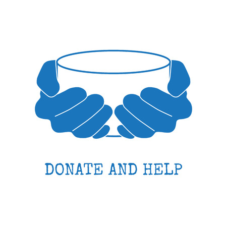 begging: Donate and help logo. Hungry people holding empty bowl begging for food and help. Illustration