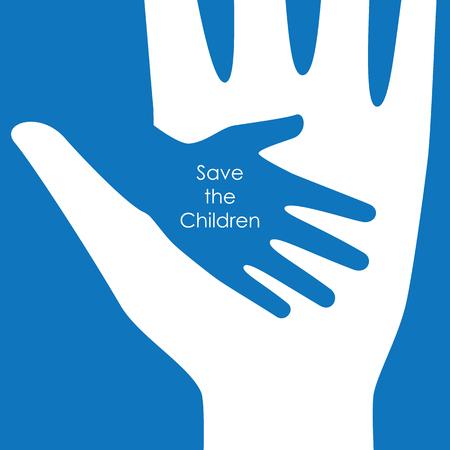 어린이 개념 배경 및 로고 벡터 그래픽 디자인에 대 한 손 돕기.