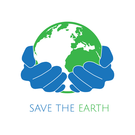 Save the earth concept logo. Blue hands holding green earth. Ecology and environment conservation concept logo.