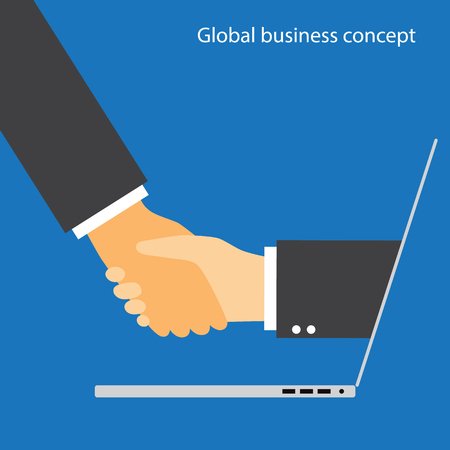 Global business deal and communication technology concept. Businessman handshake via laptop computer.
