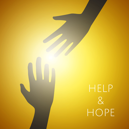 Helping hands concept. Silhouette of hands help and hope and support each other. Vector graphic design.