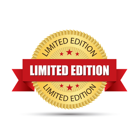 Insignia de oro de edición limitada con diseño gráfico del vector de la cinta roja del logotipo. Foto de archivo - 88084886