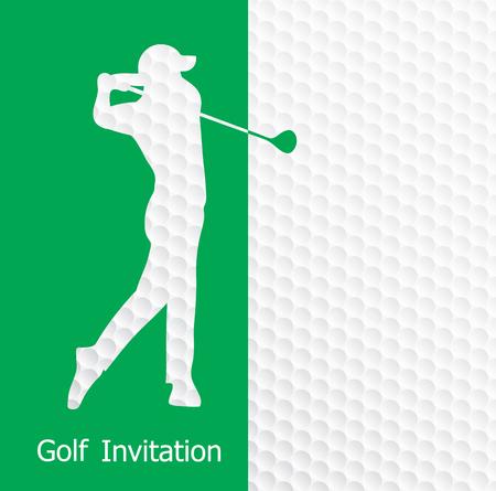Golf tournament invitation flyer template graphic design. Golfer swinging on golf ball pattern texture. 向量圖像