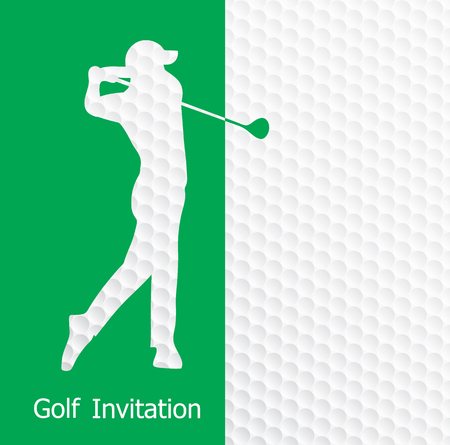 Golf tournament invitation flyer template graphic design. Golfer swinging on golf ball pattern texture. Illustration