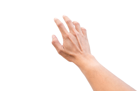 Isolated hand reaching out for something on white background.