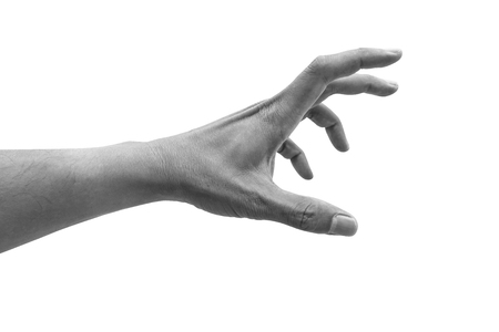 Isolated hand reaching out for something on white background. Black and white effect. 스톡 콘텐츠