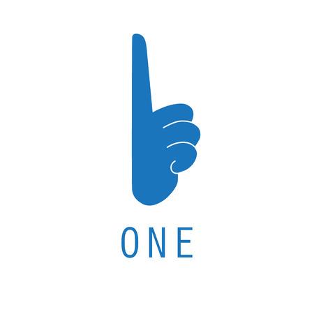 Um e primeira mão ícone logotipo design gráfico. Foto de archivo - 94512438