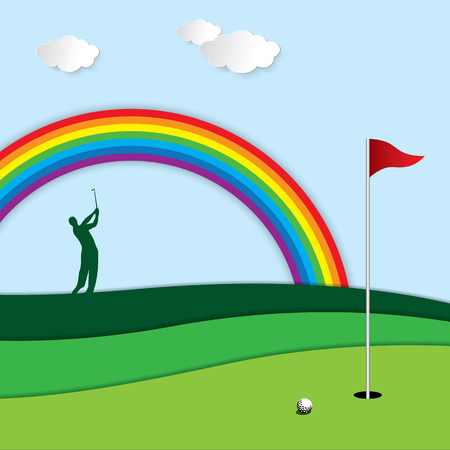 Golf tournament invitation graphic design. Golf vector background. Golf ball, golfer, fairway, green, hole, flag and rainbow.