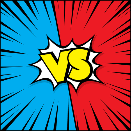 Fight vector graphic background blue and red with vs and versus text loud sound bubble.
