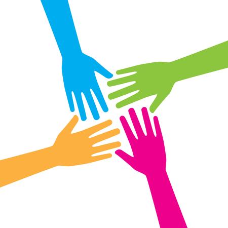 Cuatro manos extendiéndose juntas haciendo trabajo en equipo, asociación, amistad y unidad. Fondo de diseño gráfico vectorial.