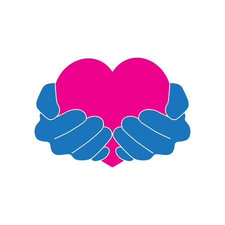 Hands holding pink heart on a white background