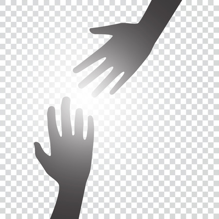 Helping hands concept. Silhouette of hands help and hope and support each other on blank background. Vector graphic design. Illustration
