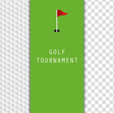 Golf tournament invitation flyer template graphic design. Green and flag on golf ball pattern texture and blank space for image on the right.