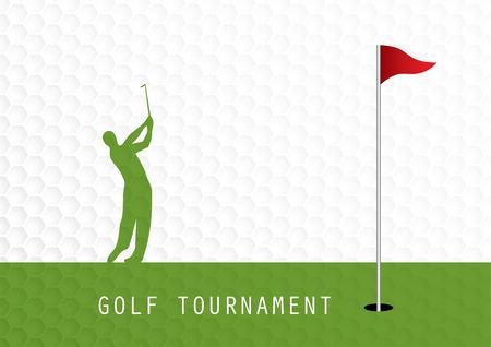 Golf tournament invitation flyer template graphic design. Golfer swinging on golf ball pattern texture. Illustration