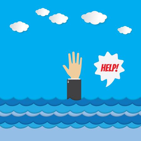 Ertrinken Geschäftsmann ruft Hilfe auf dem Handy . Geschäftsmann helfen , um Konzept zu speichern