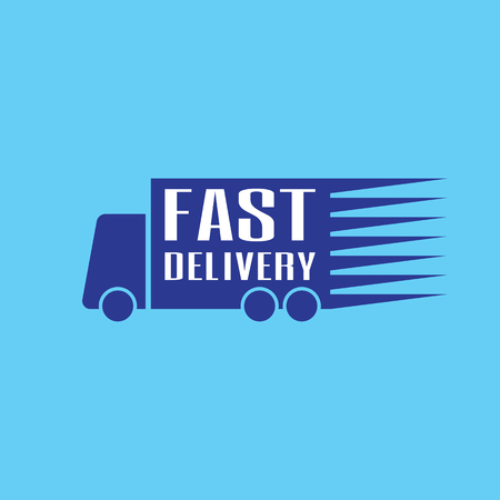 Blue fast delivery icon logo vector graphic design. Truck carrying cargo.
