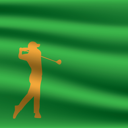 Golf tournament invitation flyer template graphic design. Gold golfer swinging on green flag. Illustration