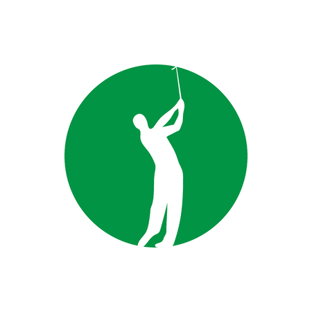 Golfer swinging vector graphic design.