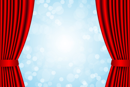 Opened red curtain and heavenly blue bright sky vector graphic design background.
