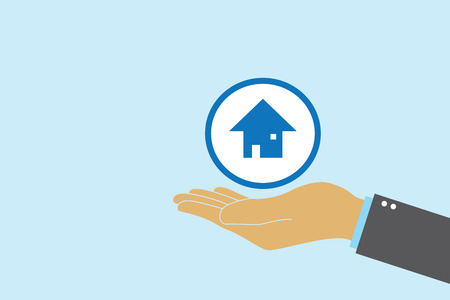 Hands holding house icon. Property management and investment. House loan. Standard-Bild - 112223821