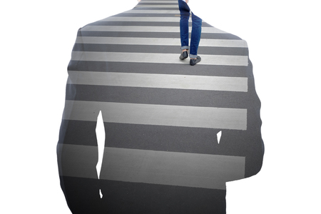 Business decision making concept. Double exposure of businessman and man walking at the crossroad. Imagens