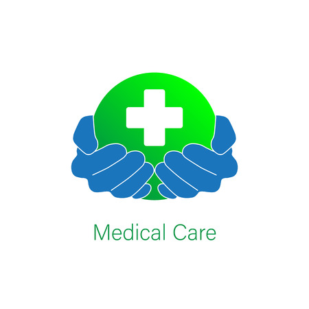 Medical Pharmacy icon logo vector graphic template design. Hands holding sphere with cross aid logo.