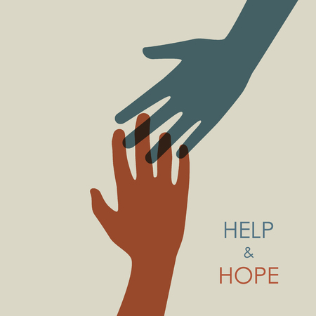 Earth tone color help and hope hands icon vector template graphic design.