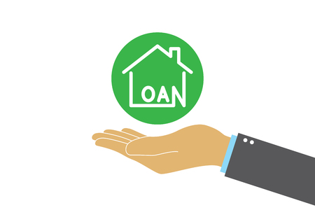 Hands holding house loan icon. Property management and investment. House loan. Illustration