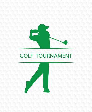 Golfer on golf ball texture tournament invitation flyer template vector graphic design. Векторная Иллюстрация