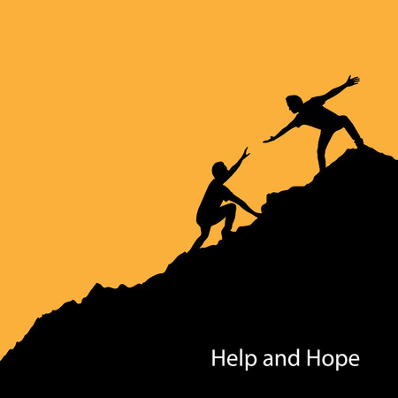 Silhouette people help each other to climb up the mountain. Help hand, hope and support concept.