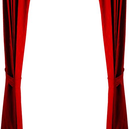 Geïsoleerd rood gordijn op witte achtergrond.