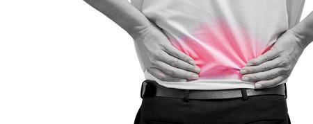Man voelt pijn op zijn rug. Kantoor syndroom. Rugpijn van het werk. Hernia nucleus pulposus. pijn in de wervelkolom. spinale degeneratie. Stockfoto