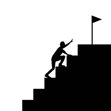 Silhouette businessman climb up steps to the goal. Business concept vector graphic design.