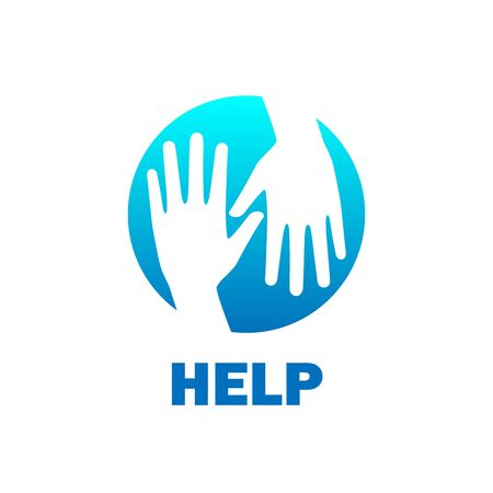 Blue help hands icon logo vector graphic design.