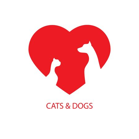 Love cats and dogs icon logo vector graphic design. Ilustração
