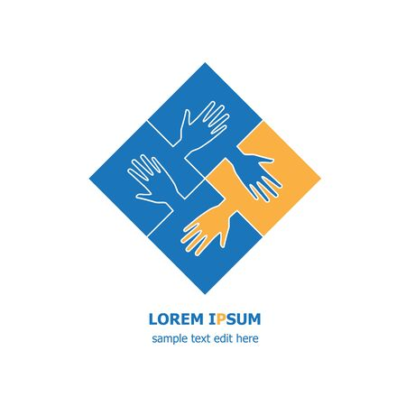 Four organization cooperation icon logo - four pieces of jigsaws and hands connected together. Ilustração