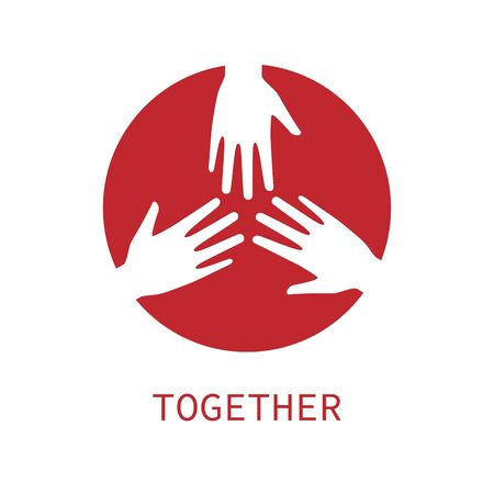 Three hands together icon logo vector graphic design.