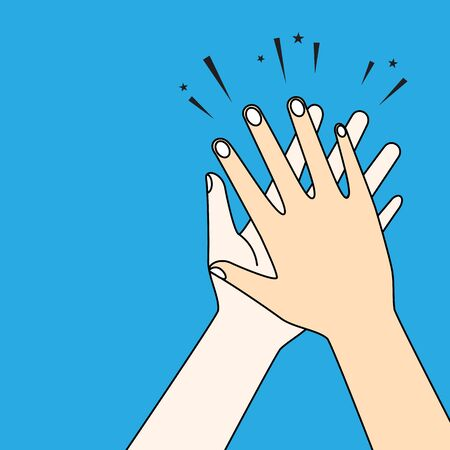 Human hands clapping. Applaud hands vector graphic design background.