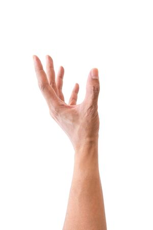 Isolated hand reaching up for something on white background.