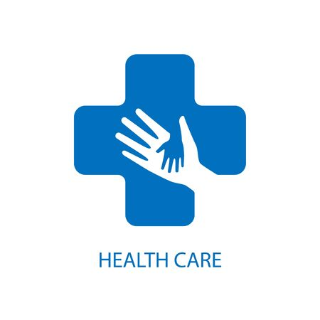 Health care icon logo vector graphic design. Helping hands inside medical cross sign.