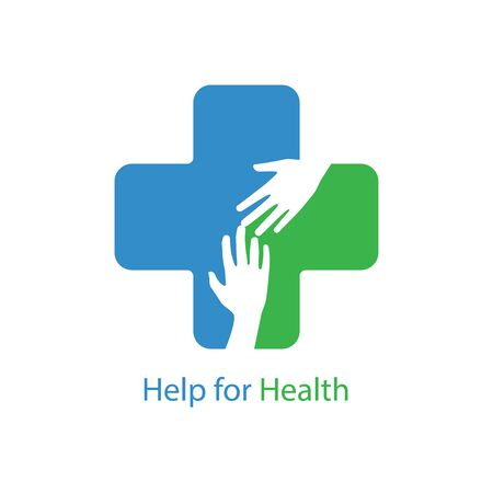 Help for health icon logo vector graphic design. Helping hands inside medical cross sign. Ilustração