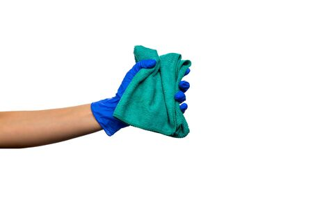 Hand in a blue glove with green rag. Cleaning Products and Supplies. Isolated white background